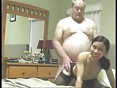 Grandpa fucks asian join in..