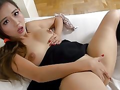 Asian schoolgirl fucks myself