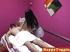 Asian masseuse tugging with the..